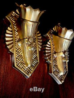 Pair of Stamped Brass Antique Art Deco Wall Sconce Fixtures