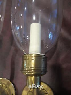 Pair of VAUGHAN Solid Brass Decorator Sconces Clandon Storm Wall Light WA0027. BR