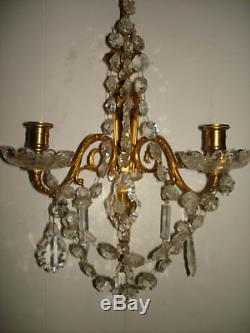 Pair of Vintage 1950's Gold Leaf Gilt Candle Wall Sconces withCrystals Italy