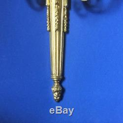 Pair of Vintage Antique Brass French Empire Style Three Tier Wall Sconces