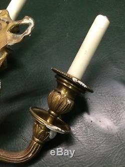 Pair of Vintage Brass Ribbon Top French Style Wall Sconces 13 1/2 Long