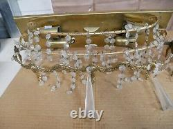 Pair of Vintage Gold Tone Wall Sconces with Crystals
