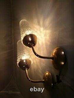 Pair of Vintage Italian Brass and Glass Wall Sconce 1950s