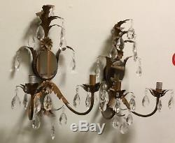 Pair of Vintage Mirrored Wall Sconces Crystal Prisms
