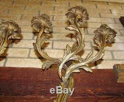 Pair of Vintage Vintage Gilt Brass Bronze Wall Sconces Candelabra Candle Rococo
