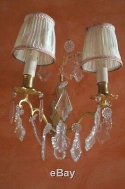 Pair of antique French solid bronze wall sconces cut glass prisms, fabric shades