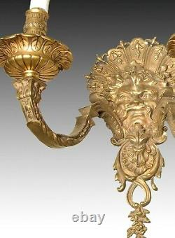 Pair of appliques (wall lamps, sconces). Bronze. 19th century