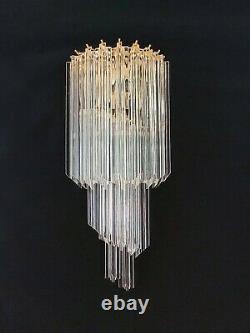 Pair of vintage Murano wall sconce 16 quadriedri trasparent prism golden fra