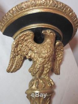 Pair of vintage gold gilded federal bald eagle figural wall shelves shelf sconce