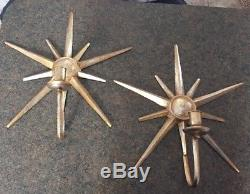 Pair vintage Mid century modern starburst wall hanging candle holder sconce