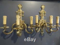 Pr Antique Gilt Brass Electric French Wall Sconces Italian Fruit Candelabra Vtg