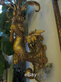 Pr Antique Italian Carved/Gilt Wood Putti/Cherub/Angel Wall sconces/chandeliers
