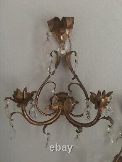 Pr Antique Italian Florentine Gilt Wall Candle Sconces Crystal Prisms Italy Tole