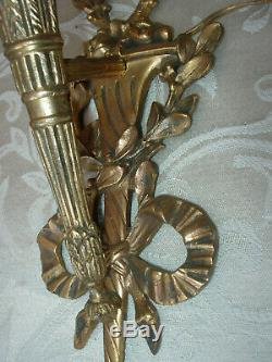 Pr. E F Caldwell Gilt Brass Single Arm Ornate Wall Sconces Gilt Bronze Antique