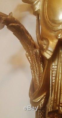 Pr Giant 41 Antique French Empire Brass Bronze 5 Light Wall Sconces Rose Shade