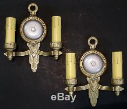 Pr. Vintage Art Deco Double Arm Cast Iron Wall Lamp Sconce Light Candle Style