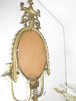 Pr Vintage Brass Wall Sconce Candle Holders Glass Mirror Crystal Prisms Mirrored