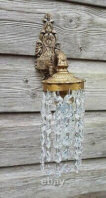 Pretty French Wall Lights / Down Lights Strings of Crystals -2 Pairs Available