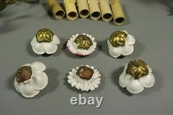 RARE French Antique Gilt Brass Porcelain Flowers Wall Sconces PAIR Lights 19thC