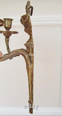 RARE PAIR ANTIQUE FRENCH EMPIRE CANDLE SCONCES WALL LIGHTS 19th Century bronze