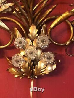 RARE Vintage Gold Gilt Wall DOUBLE LIGHT SCONCE Hollywood Regency Antique Metal