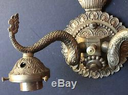 RARE Vintage SPAIN Metal DOLPHIN Fish Serpent BRASS LIGHTS Antique Sconce Wall