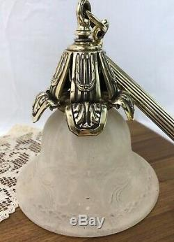 RESTORED Antique Victorian Ornate Brass Wall Sconce Lamp Gas, Converted Electric