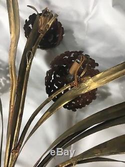 Rare! ITALIAN TOLE Gold Gilt Tole Wall 7 Light Sconce Hollywood Regency Vtg 43