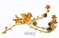 Rare Pair Italian Tole Gold Gilt Wall Sconces Carved Wood Cherub Puttis