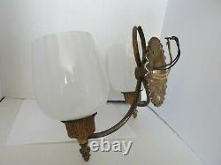 Rare Vintage Art Deco Two Arm Lightolier wall Sconce Brass Glass