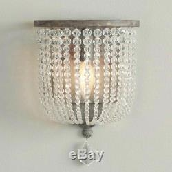 Retro Country Style Single Light Wood/Crystal Beaded Indoor Wall Sconce Fixture