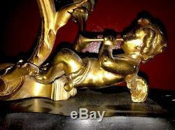 Rococo Angel Cherub Wall Sconces Brass Putti Lamp Fixtures Horns Spain Bronze