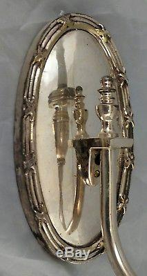 SET 4 Antique ENGLISH FRENCH SILVER PLATED Classical BRONZE WALL SCONCES Sconce