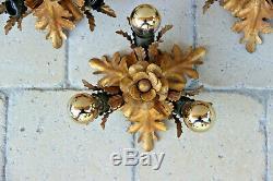 SET 4 Hollywood regency Wall lights sconces Leaf gold gilt attr. Maison jansen