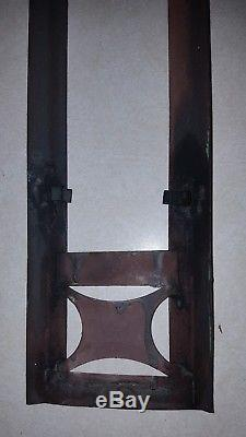 SET of (2) LARGE GOTHIC COPPER EXTERIOR WALL SCONCES CATHOLIC CHURCH BUILT 1909
