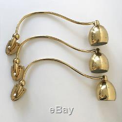 SET of THREE Mid Century ARTICULATED Brass WALL LAMPS Sconces STILNOVO Arteluce