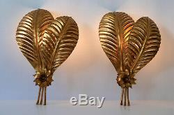SET of TWO XXL Mid Century Modern PALM LEAF Wall Lamps SCONCES by HANS KÖGL