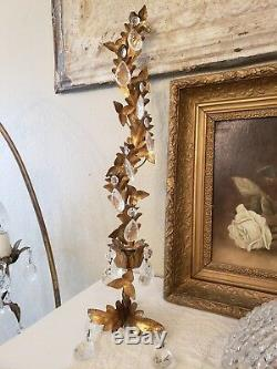 STUNNING Pair Vintage Italian Gold Gilt & Crystal Candle Wall Sconces withTags