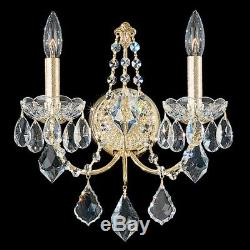 Schonbek 1702 Century 2 Light Wall Sconce, French Gold with Clear Heritage Crystal