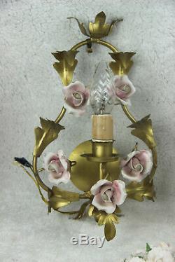 Set 3 Vintage French metal gold gilt porcelain roses flowers sconces wall lights