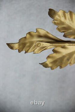 Set 4 mid century 1970 Metal gold gilt wall lights sconces floral