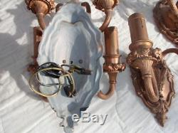 Set Of 4 French Wall Sconces In Brass