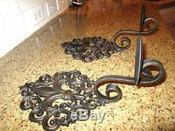 Set of 2 Iron Fleur de Lis Wall Candle Holders, Wall Sconces, French Louisana