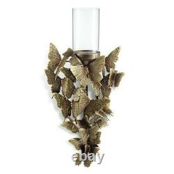 Set of 2 Wall Sconces with Gold Aluminum Butterflies and Glass Candle Holders