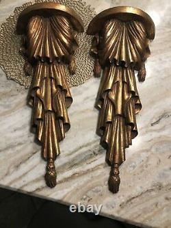 Set of 2 Xtra Large 20.5 Victorian Gold Gilt Corbel Resin Wall Sconce Shelf