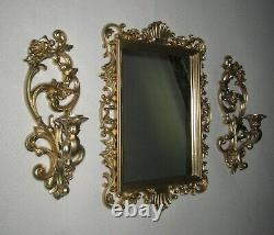 Set of 3=Vtg Ornate GOLD FRAMED HOMCO WALL MIRROR & 2=Candle Sconces 4118