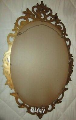 Set of 3=Vtg Ornate GOLD FRAMED SYROCO WALL MIRROR & 2=Candle Sconces 4118