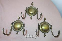 Set of 3 high quality antique gilt bronze colonial electric wall sconce brass