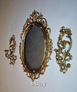 Set of 4=Homco Syroco Burwood Victorian Gold Mirror Candle Sconces Wall
