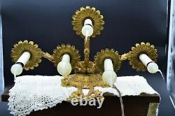 Sharp Pair! 5 Candle Lamp Rococo French Gold Gilt Wall Sconces with Bow & Tassels